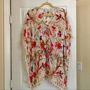 Cotton floral swimsuit coverup